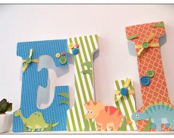 Dinosaur Nursery. Wood Letters. Dinosaur Nursery Decor. Baby Letters. Nursery Letters. Wall letters. Nursery Decor. Boys Nursery. Blue.