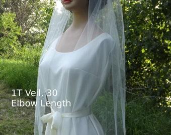Raw Edge 1T Wedding Veil - One Layer Bridal Veil - 1 Tier - Elbow Waist Fingertip - Plain Veil - Off White Wedding Veil, White, Ivory, Black