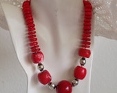 Red Coral Chunky Beaded Necklace, Red Bamboo Coral Heishi, Red Coral Barrels, .925 Bali Sterling Silver
