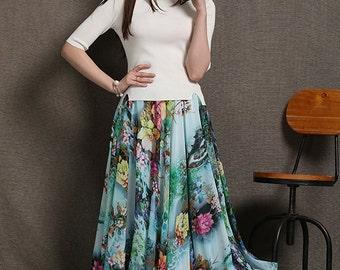 Maxi skirt women chiffon skirt C576