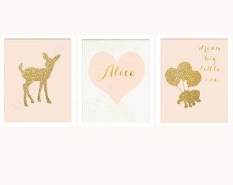 Baby Girl Nursery Prints, Kids Nursery Art, French Nursery, Gold Glitter Print, Deer, Elephant, Pastel, Blush Pink, SET OF 3, Dream Big