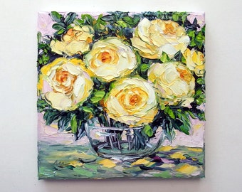 Original Oil Painting Rose Yellow Flower Floral Still Life Painting Palette Knife Impasto Canvas Small Art 8x8
