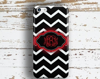 Gifts for teen girls, Chevron phone case, Girls Protective Tweens, Cute black red, Fits iPhone 4/4s 5/5s 6/6s 7 8 5c SE X and Plus (1001)