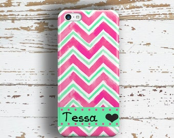 Sister birthday gift, Chevron iPhone 5s case, Monogram iPhone 6 case, Protective iphone 6s case, Girls Iphone 5c case Turquoise pink (1369)