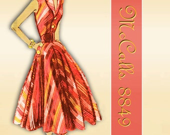McCalls 8849 1950s Dress Pattern Sleeveless Two Piece Dress with Rockabilly Twirly Skirt Bust 34 Adaptation of an Italian Couture Design