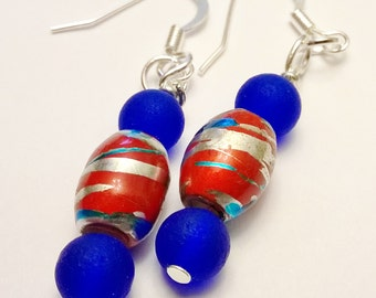 Royal Blue Recycled Glass Beads w/ Striped Red Glass Beaded Dangle Earrings