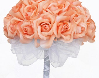 Peach Silk Rose Hand Tie (36 Roses) - Silk Bridal Wedding Flowers