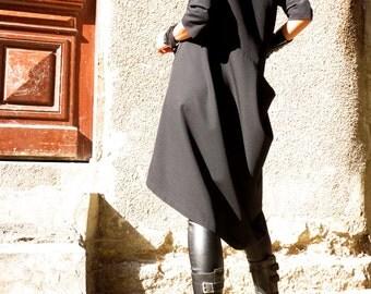 Black Trench Coat / Elegant Zipper  Blazer  / Extravagant Asymmetrical  Jacket by AAKASHA A07260
