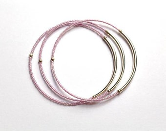 Pink Seed Bead Bracelet, Pink Jewelry, Pink Bracelet, Seed Bead Jewelry, Tube Bangle, Bangle Bracelet, Beaded Bangle, Silver Bangle, Silver