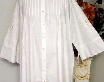 Adorable oversized Plus size shirt in White a nd Black Quality Cotton with embroidery details and much more XL TO 5XL