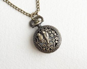 Pocket watch, pocket Watch necklace, pocket watch vintage, lovebirds bird steampunk pocket watch necklace lovebirds antique BRONZE