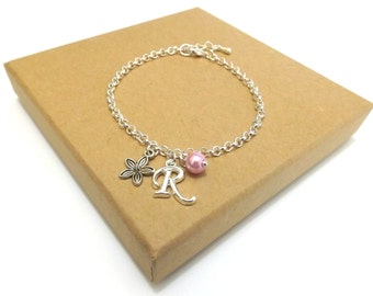 Flower Girl Gift, Flower Girl Bracelet, Flower Charm Bracelet, Personalised Initial Bracelet, Flower Girl Jewellery, Wedding Jewellery