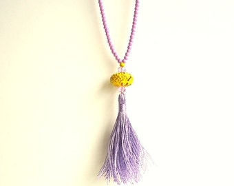 Tassel necklace, sunny yellow necklace, lilac purple necklace, Rosary necklace, boho necklace, gypsy, beach necklace, lavender necklace