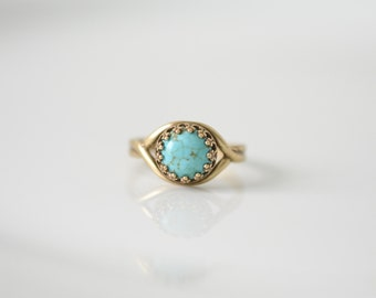 Turquoise Ring, Boho Ring, Gypsy Jewelry, Dainty Ring, Bronze Turquoise Ring, Dainty Bronze Ring, Native American Turquoise