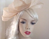 Fascinator Hat Cream nude loop headpiece on hairband, perfect for the races or a wedding