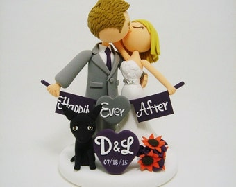 Romantic- Custom wedding cake topper with dog
