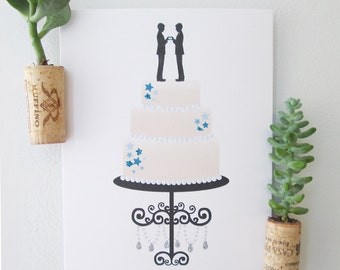 Wedding Cake Topper - Two Grooms - Marriage Equality