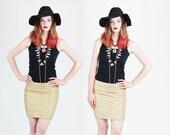 1980s Disco Glam Metallic Gold Body Con Mini Skirt