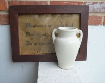 Vintage Ceramic Cream White Matt Glaze Vase, Vessel
