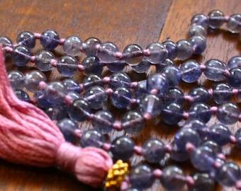 Iolite and Vermeil Knotted Mala Beads Gemstone Prayer Beads 108 Bead Yoga Necklace Meditation Beads Spiritual Jewelry Crystal