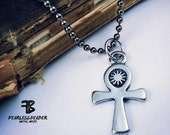 Ankh Necklace, Key of Life Necklace, Mens Jewelry, Egyptian Hieroglyph Necklace, Unisex Ankh Necklace, Cross Necklace, Egyptian Jewelry, MMA