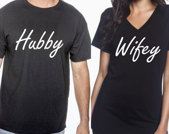 Wifey Hubby, wifey hubby tees, wifey hubby shirts, couples tees, newlywed, bridal shower, wedding, engaged, wifey, hubby, bridal