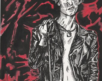 Sid Vicious fan art by Mikie Hazard Original Piece, not a print