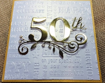 50th Birthday Card, Handmade Golden Birthday Card, Happy Birthday Card, or 50th Anniversary Card, Gold and Pearl