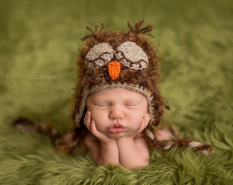 Crochet Fuzzy Baby Owl Hat, Multiple Sizes