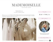 "Blogger Template Premade Blog Design - ""Mademoiselle"" Instant Download Chic Minimalist Pink & Grey Blog Design Responsive"