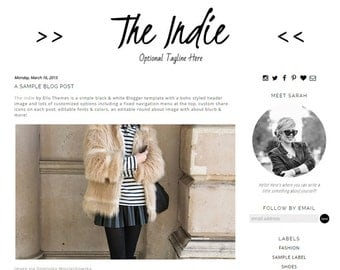 Premade Blogger Template - The Indie - Responsive Blogger