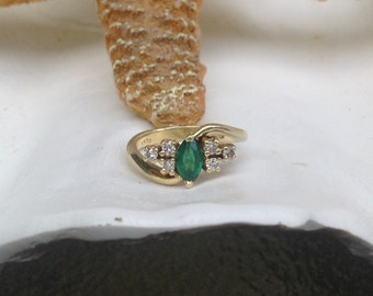 NEW PRICE - Estate Solid 18K Yellow Gold 1/2 Carat Natural Emerald and Diamond Ring - Size  6 1/4 Etsy andersonhs