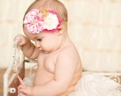 Hot Pink, Cream & Gold Fabric Flower Headband - baby, photography, prop, girl, newborn, hair, accessories, bow, toddler, sparkly, gift
