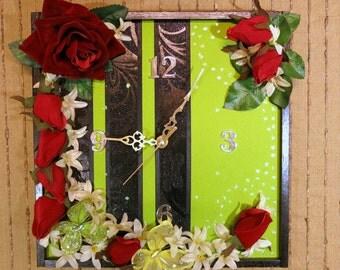 Modern Wall Clock, Modern Contemporary Wall Art, Home Decor, Birthday Anniversary Gift, Artificial Butterflies and Red Roses OOAK