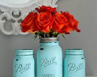 Aqua Blue Painted & Distressed Mason Jars - Vases, Centerpieces, Home Decor, Weddings, Showers, Special Events