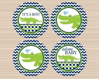 Digital Cupcake Toppers, Alligator Baby Shower