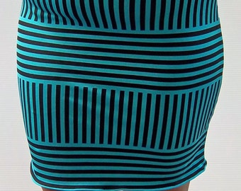 Blue and Black Striped Printed Pencil Skirt - Blue and Black - Pencil Skirt - Bodycon