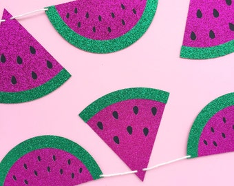 watermelon banner pink and green glitter watermelon party banner watermelon party summer