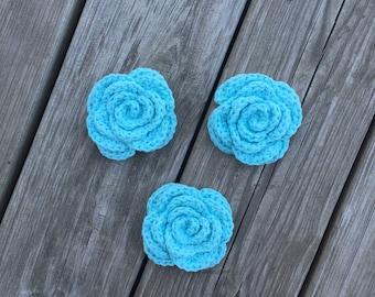 Crochet Face Scrubbies, Blue Flower Scrubbies, Reusable Cotton Rounds, Facial Scrubbies, Makeup Removers, Eco Friendly Cleansing Pads