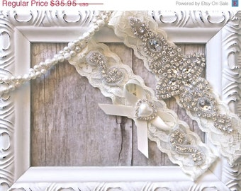CUSTOMIZABLE Wedding Garter, Bridal Garter, Wedding Garter Set, Lace Bridal Garter Set, Ivory Bridal Garter Belt