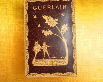 Vintage French Perfume Box Guerlain embossed figurals France original case keepsake heirloom box