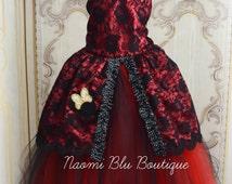 Minnie Mouse Inspired Vintage Masquerade Tutu Ball Gown. Birthdays, Flower Girl, Weddings, Disneyland Black Red Lace Dress