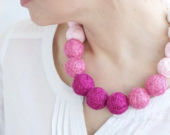 Pink  textile necklace handmade thread cotton for women textile beads natural pastel spring