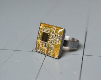 Modern Techie Ring, Geekery Circuit Board 925 Sterling Silver Ring