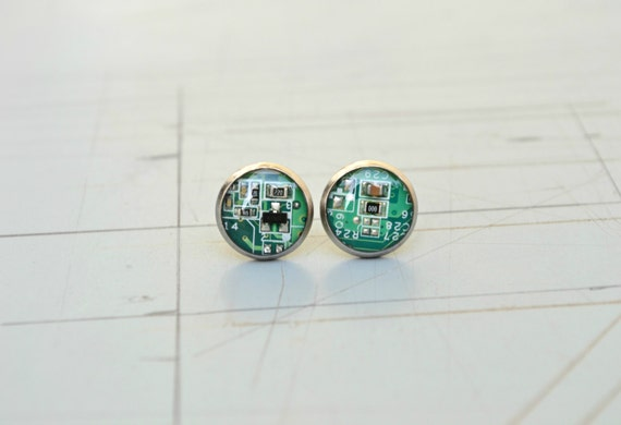 Geeky Computer Earrings, Modern Funky jewelry, Geometric Green Circuit Board Post Stud Earrings