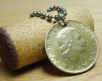 1980 Italian Coin Pendant with Stainless Steel Ball Chain - Italy - Europe - Profile - Vintage Foreign Coin
