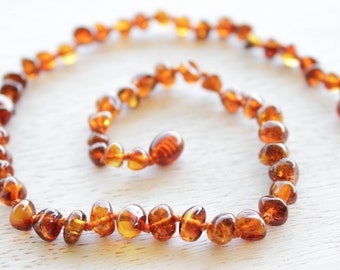 Polished Baltic Amber teething necklace.