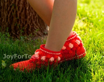 Crochet Boots Socks Slippers for Home Bubbles Made to Order Orange Cozy Woman Boots