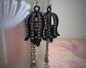 Black and Purple Rhinestone Victorian Steampunk Tulip Drop Dangle Earrings on Silver Plated Hooks