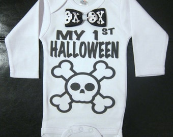 My 1st Halloween  with skull and crossbones bow tie